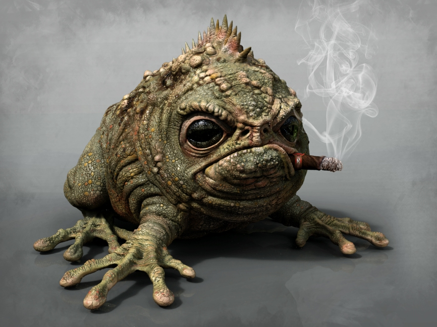 Old frog smoking cigar